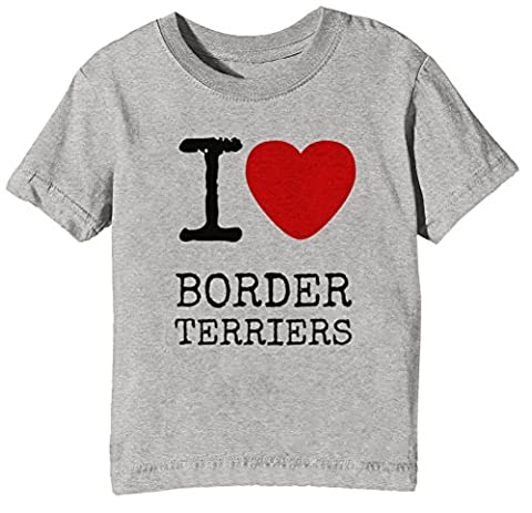 I Love Border Terriers Dogs Enfants Unisexe Garçon Filles T-shirt Cou D'équipage Gris Manches Courtes Taille S Kids Unisex Boys Girls Grey Small Size S