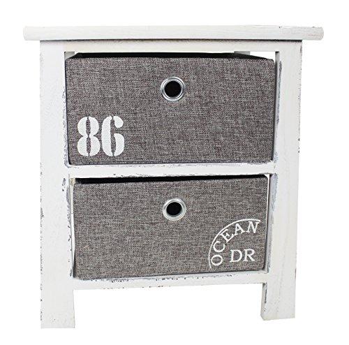 Holz Regal mit 2 Kisten weiß grau M - 41,5cm (Holz-kinderzimmer-schrank)