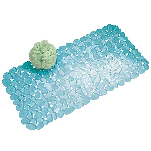 mDesign Alfombrilla de baño Blanda con ventosas - Alfombra Antideslizante para bañera de PVC Robusto y Resistente - Alfombra de Ducha Azul con diseño de guijarros - para baño, bañera o Ducha