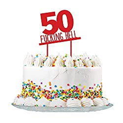 Funny 50th Birthday Cake Topper Cut From 3mm Red Acrylic High Quality For Men Women
