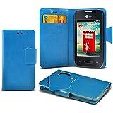 (Baby Blue) LG L35 Caso fino estupendo Faux Leather succión Pad Monedero piel de la cubierta con el crédito / débito ranuras para tarjetasBy ONX3