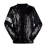 Michael Jackson Kostüm Jacke Hosen für Erwachsene Kind Billie Jean Jacke Tanz Cosplay Schwarz (H:175-185cm W:70-78kg, Erwachsene Jacke)