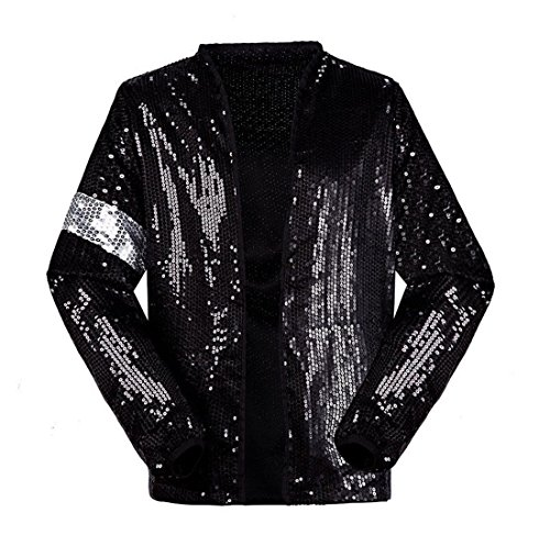 Michael Jackson Kostüm Jacke Hosen für Erwachsene Kind Billie Jean Jacke Tanz Cosplay Schwarz (H:165-175cm W:60-65kg, Erwachsene - Für Erwachsene Schwarz Kostüm Hosen