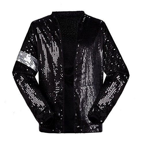 Shuanghao Michael Jackson Kostüm Jacke Hosen für Erwachsene Kind Billie Jean Jacke Tanz Cosplay Schwarz (H:175-180cm W:65-70kg, Erwachsene Jacke) (Michael Jackson Kostüme Billie Jean)