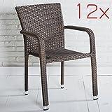 12er Set Stapelbarer Armlehnstuhl in grau mit Armlehnen exkl. Auflage für Garten, Terrasse oder Balkon - Gartenmöbel Stühle Terrassenstuhl Balkonstuhl Stuhl Gastro