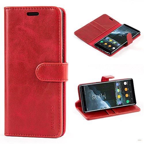 Mulbess Handyhülle für Samsung Galaxy Note 8 Hülle, Leder Flip Case Schutzhülle für Samsung Galaxy Note 8 Tasche, Wein Rot