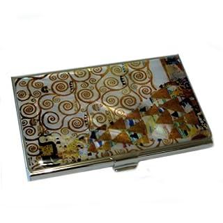 Mother of Pearl Expectation by Gustav Klimt Art Painting Design Business Credit Name Card Holder Case Metal Stainless Steel Engraved Slim Purse Pocket Cash Money Wallet by Antique Alive
