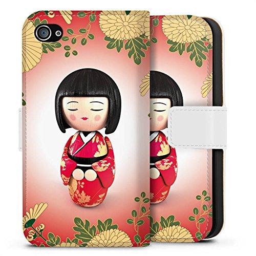 Apple iPhone X Silikon Hülle Case Schutzhülle Kiku Kokeshi Puppe Asien Sideflip Tasche weiß