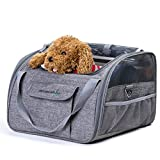 Travel Car Seat Carrier for Cat Dog Safety Folding Portable Bag Tote Top Opening Padded Mesh Pet Carrier (M-47*26*30cm, Grey)