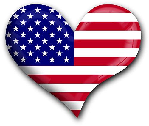 """Top Kühlschrank-Magnet aus Metall mit starkem Neodym-Magnetem und hochglänzender Kunstharzbeschichtung in Herz-Form """"USA"""" von metALUm - tolles Geschenk für USA - Fans"""