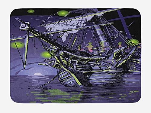 Pirate Ship Bath Mat, Ghost Ship on Fantasy Caribbean Ocean Adventure Island Haunted Vessel, Plush Bathroom Decor Mat with Non Slip Backing, 23.6 X 15.7 Inches, Purple Lime ()
