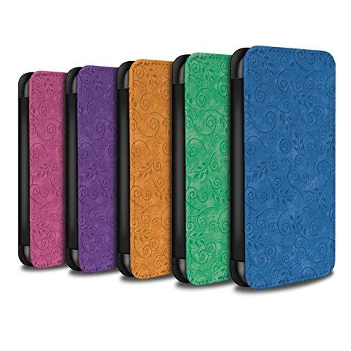 Stuff4 Coque/Etui/Housse Cuir PU Case/Cover pour Apple iPhone SE / Pourpre Design / Motif Feuille Remous Collection Pack (8 pcs)