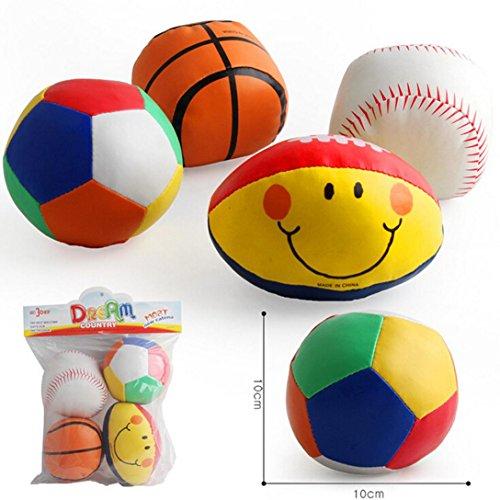 Bescita 4 STÜCK Baby Baumwolle Weiche Ball Fußball lächelnde Rugby Gedrückt Pädagogisches Spielzeug (Large)