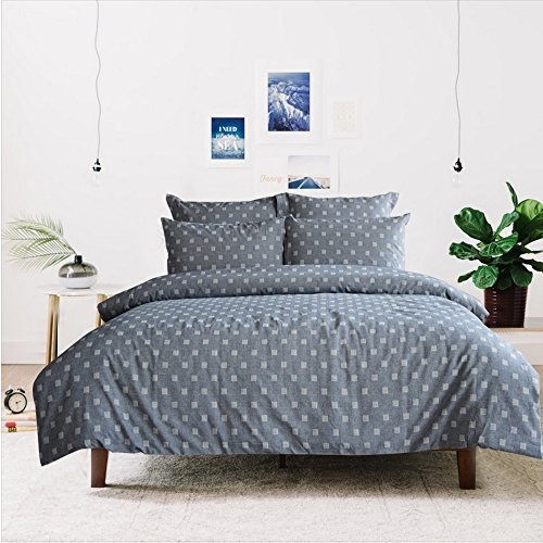 Merryfeel 100% Cotton Chambray Yarn Dyed Duvet Cover Set – (Double Set) 200×200+2x50x75cm