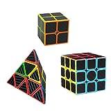 Tocone Fibra del Carbón Cubo mágico Juego de 3 Pack 2x2x2, 3x3x3, Pyraminx Velocidad Cubo Profesional del Cubo del Rompecabezas