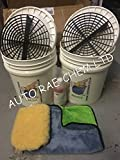 AUTO RAE-CHEM GRIT GUARD & HEAVY DUTY 20L BUCKET - For 2 Bucket Car Wash Method + FREE SHAMPOO + WASH MIT + MICROFIBRE TOWEL