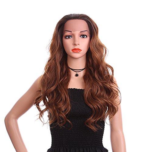 erücke Für Frauen, Mode Lange Tiefe Welle Auburn Braunes Haar Für Weihnachten Halloween Kostüm, Hohe Temperatur Faser ()