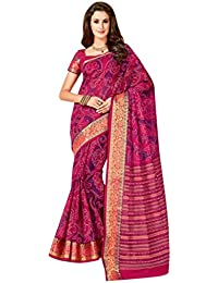 Ashika Pink Printed Cotton Saree For Women With Blouse