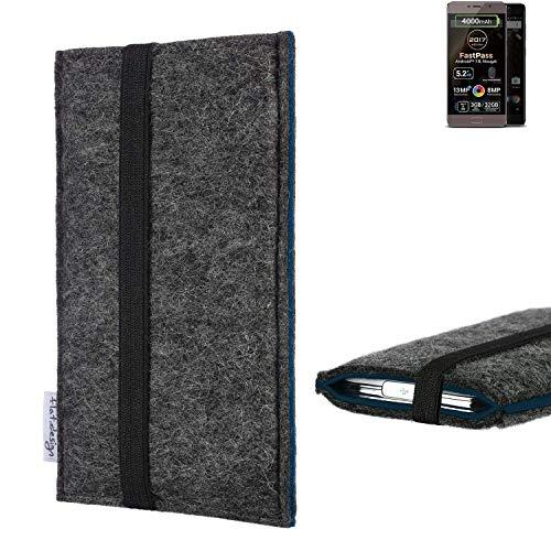 flat.design Handyhülle Lagoa für Allview P9 Energy Lite (2017) | Farbe: anthrazit/blau | Smartphone-Tasche aus Filz | Handy Schutzhülle| Handytasche Made in Germany