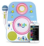 Singing Machine SMK250BG Bluetooth Sing Along Kids Karaoke Machine With LED lights and Microphone, Blue/Green