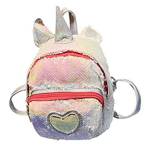 Rucksack für Kinder, niedlich, mit glitzernden Pailletten, weiß (Weiß) - 10281703235