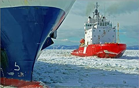 Impression sur bois 110 x 70 cm: The icebreaker 'Terry Fox' comes to the rescue of a stranded ship de Jacques Pelletier / National Geographic