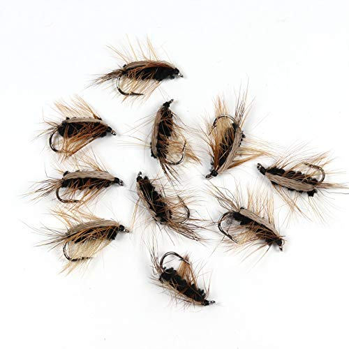 SportyNeeds 10PCS Black Body Woolly Worm Brown Caddis Nymph Fly Deer Hair Beetle Trout Fly Fishing Fly Bait
