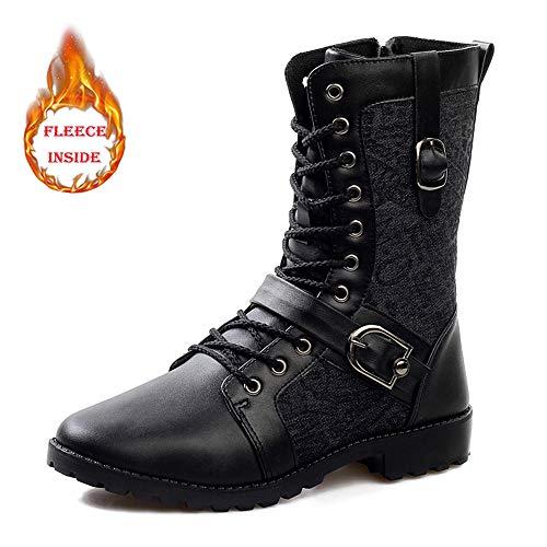 HILOTU Mid-calf Boots für Herren Lässige Faux Fleece-Innenschnürung Canvas-Stiefel Schnalle Schuhe mit seitlichem Reißverschluss (Color : Warm Black, Größe : 43 EU) Canvas Fleece
