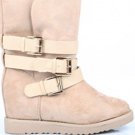 Ideal Shoes - Bottes semi-compensées et fourrées avec triple ceintures Gauthière Beige