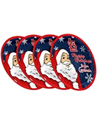 """St. Louis Cardinals MLB Holiday 10"""" Plastic Plate - 4 Pack"""