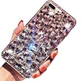Coque Diamant iPhone XR,LCHDA Coque iPhone XR Strass Diamant Rose Blanche 3D Bling...