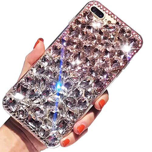 Nadoli Luxuriös Funkelnd Glitzer Voll Diamant Strass Bling Durchsichtig Hart PC Zurück + Weich Silikon Rahmen Hülle Schutzhülle für Huawei P10 Lite,Rosa Silber Voller Bling