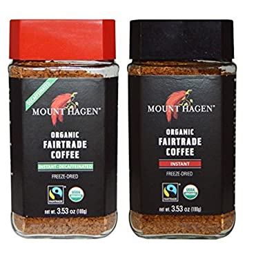 Mount Hagen Organic Freeze Dried Instant Coffee- 3.53 Oz Each,Variety Pack,1 Jar Regular + 1 Jar Decaff, (Pack of 2) from Mount Hagen