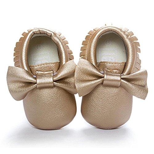 BZLine® Bowknot Frange PU Cuir Chaussure à Couleur Unie pour Bébé Fille 0-18Mois (6~12Mois, Jaune) Or