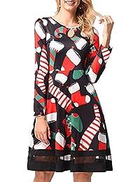 CHIYEEE Mujeres de Navidad Vestido de Fiesta de Las Señoras Manga Larga Vintage Navidad Swing Vestido