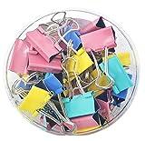4 colori: blu, rosso, verde e giallo. Larghezza: 25 mm Buona qualità: FoldBack-staffe morsa carte con bracci metallici in modo sicuro; Acciaio temprato offre tenuta forte, impedisce la carta a sfilare o a tirare fuori. Facile da usare: FoldBack-staff...
