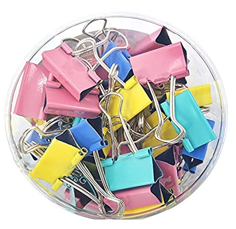 DIKETE® 48 Assorted Mini Metal Paper Binder Clips Colorful Office Organize Fold Back Clip, 4 Colours - Pink Yellow Green Blue, 25mm / 1 Inch