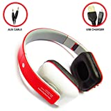 Bluetooth Wireless Kopfhörer/Headset Stereo-Kopfhörer Studio DJ SD Card Support (rot)