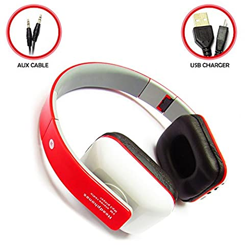Bluetooth Wireless Headphones Stereo, SD Card Support and In Line Control - Red