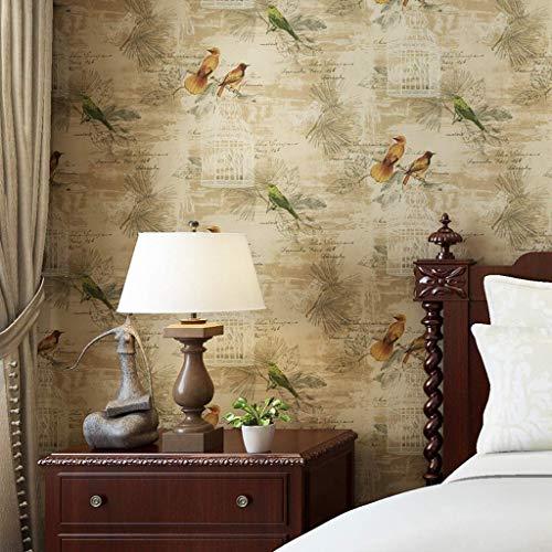 IF.HLMF Retro Fresko Vögel Blumen Weiche Flieder Tapete Reines Papier Zum Schlafzimmer Bett Wohnzimmer Fernseher Hintergrundwand 10 Mx 0,53 M/Rolle (Farbe : A)