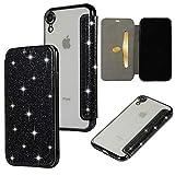 Yobby Coque pour iPhone XR,Ultra Slim Cuir Glitter Paillette Noir Cuir Rabat...