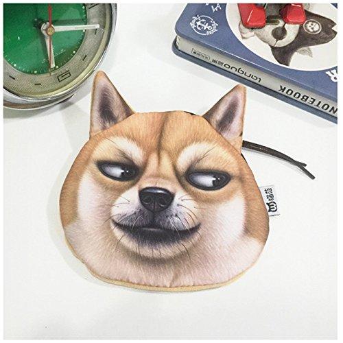 Lustige Geldbörse für Kinder, Evil Dog Kopf geformt Mini Wallet mit Schlüsselanhänger (Husky-leder-geldbörsen)