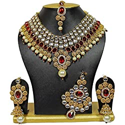 Shining Diva Party Wear Traditional Kundan Jewellery Set / Necklace Set for Women with Earrings Maang Tikka and Passa