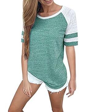 Blusas Para Mujer Rawdah Mujeres De Moda Señoras Blusa De Empalme De Manga Corta Tops Ropa Camiseta Blusa Casual...
