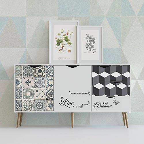 WALPLUS e Piastrelle, Motivo Geometrico mobili Wrap Autoadesivo, Adesivi da Parete, Vinile, 90x 60x 4cm