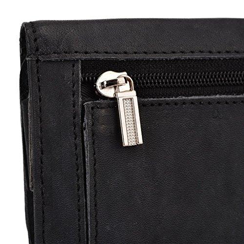 Kroo Pochette Housse Téléphone Portable en cuir véritable pour Huawei Ascend Y550/Ascend G64G, Lenovo Vibe X Marron - marron noir - noir