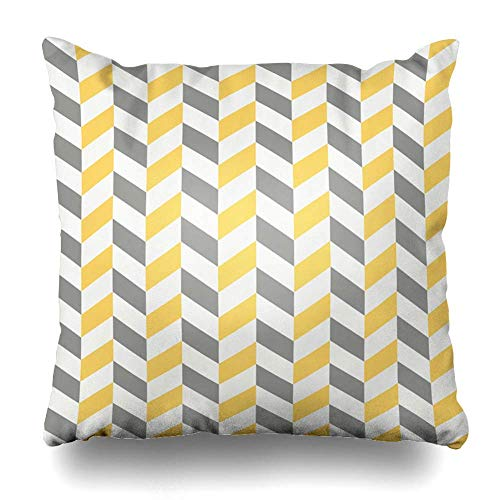 ZiJface Throw Pillows Covers Gray Stripes Abstract Herringbone Pattern Grey Yellow White Color Abstraction Home Decor Pillowcase Square Size 18 x 18 Inches Cushion Case -