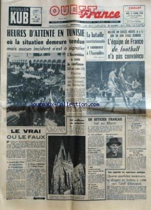 NOUVELLE REPUBLIQUE (LA) [No 4110] du 19/03/1958 - L'ASSEMBLEE A VOTE LA CONFIANCE - LE CRIME DE LA RUE MIROMESNIL - 16 FRANCAIS SONT RENTRES DE TERRE ADELIE - UN CHAUFFEUR DE TAXI ET SON NEVEU SONT TOMBES SOUS LES BALLES DE GUYENOT - LE DENTISTE BISONTIN EST RETROUVE NOYE - NOUVEL ET VIOLENT ACCROCHAGE PRES DE TABLAT - EN ALGERIE LES FORCES FRANCAISE DEFENDENT AUSSI L'EUROPE PAR MAREY - EISENHOWER ENVISAGE AVEC CONFIANCE LA SITUATION ECONOMIQUE DES ETATS-UNIS - GRACE DE MONACO DONNE NAISSANCE