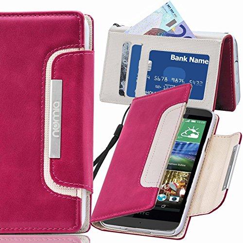 HTC Desire 728G Hülle, numia Handyhülle Handy Schutzhülle [Book-Style Handytasche mit Standfunktion und Kartenfach] Pu Leder Tasche für HTC Desire 728G Case Cover [Pink-Weiss]