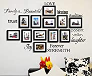 ZERIRA Family Wall Decal ~ Set of 12 Family Words Quote Sofa Picture Frame Background Decorative Wall Sticker